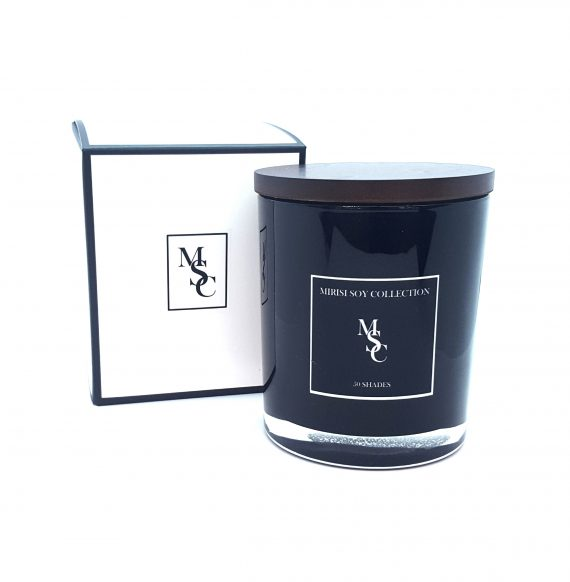 black glass candle and box